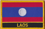 Laos Embroidered Flag Patch, style 09.